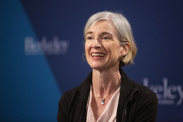 Jennifer Doudna talks during a press conference at UC Berkeley in Berkeley Calif. on Wednesday, Oct. 7, 2020. Doudna received the Nobel Prize in Chemistry for her work with CRISPR Cas9.